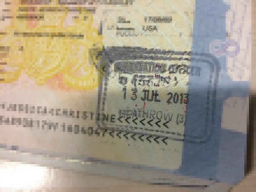 Jess in London - Passport Stamp
